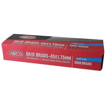 Airco DA19 Nail Brads 45mm - Box of 3000
