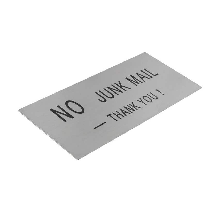 """Sadleford """"No Junk Mail"""" Sign Stainless Steel 140 x 65mm"""