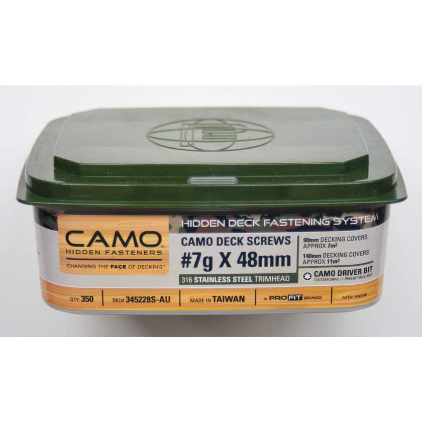 Camo Screw Trimhead Stainless Steel 48mm x 7G - Box of 350