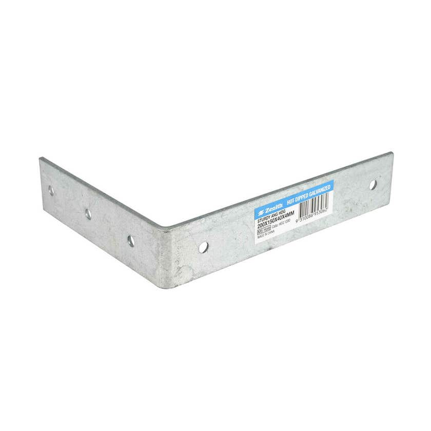 Zenith Sturdy Angle Bracket Galvanised 200 x 150 x 40 x 4mm - 1 Pack