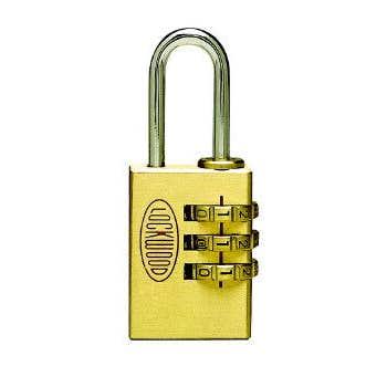 Lockwood 150 Series 3 Digit Combo Padlock Brass 30mm