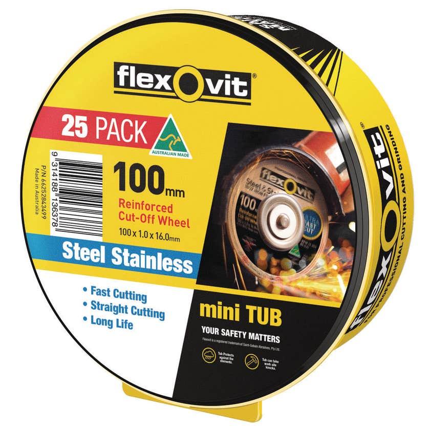 Flexovit Cut-Off Wheel Steel Stainless 100 x 1 x 16mm - 25 Pack