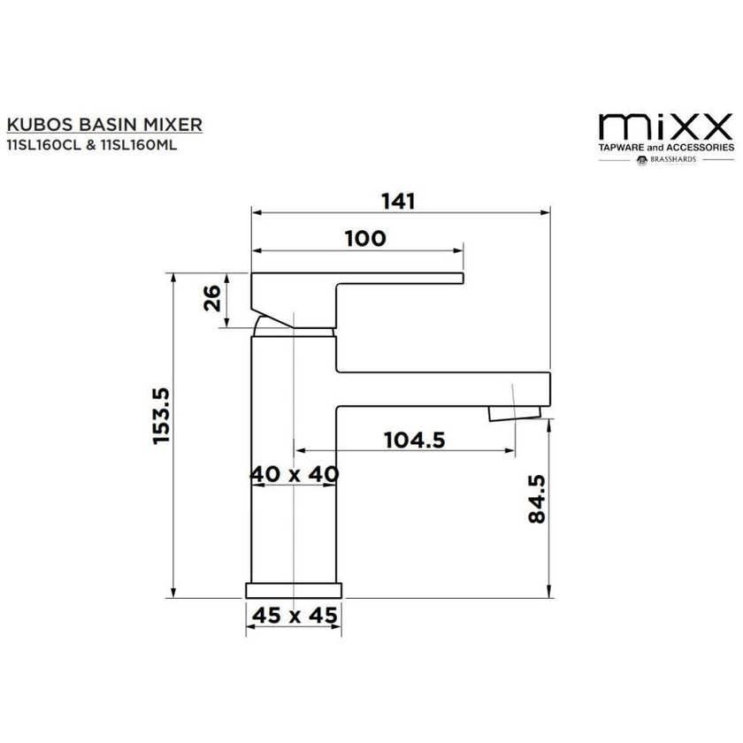 Mixx Kubos Basin Mixer Black