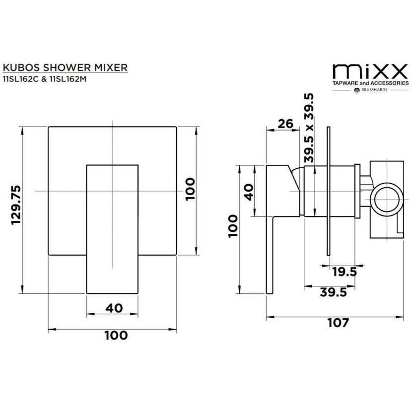 MIXX Kubos Shower Mixer Black