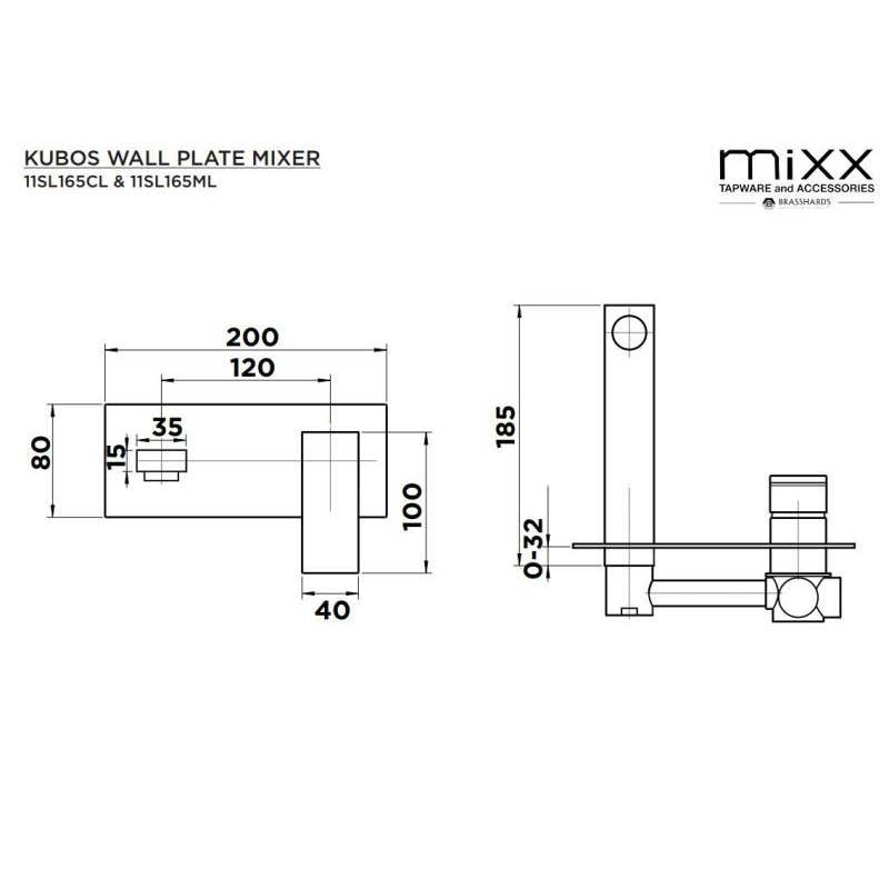 Mixx Kubos Wall Plate Mixer Black