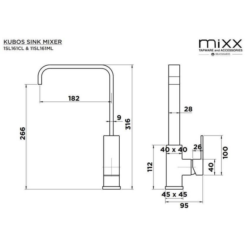 Mixx Kubos Sink Mixer Black