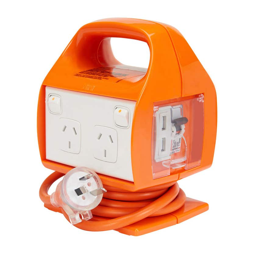 HPM 4 Outlet Power Centre Safety Switch 10AMP with USB