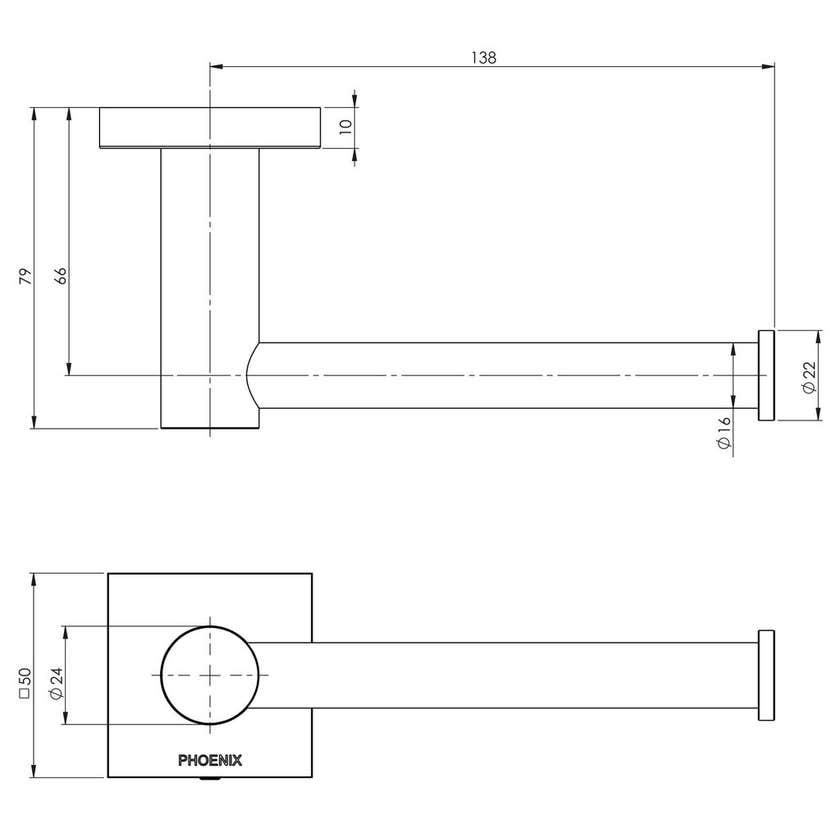 Phoenix Radii Square Toilet Roll Holder Chrome