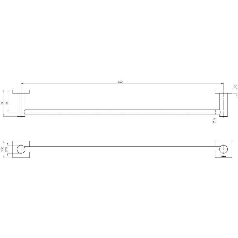 Phoenix Radii Square Single Towel Rail Chrome 600mm