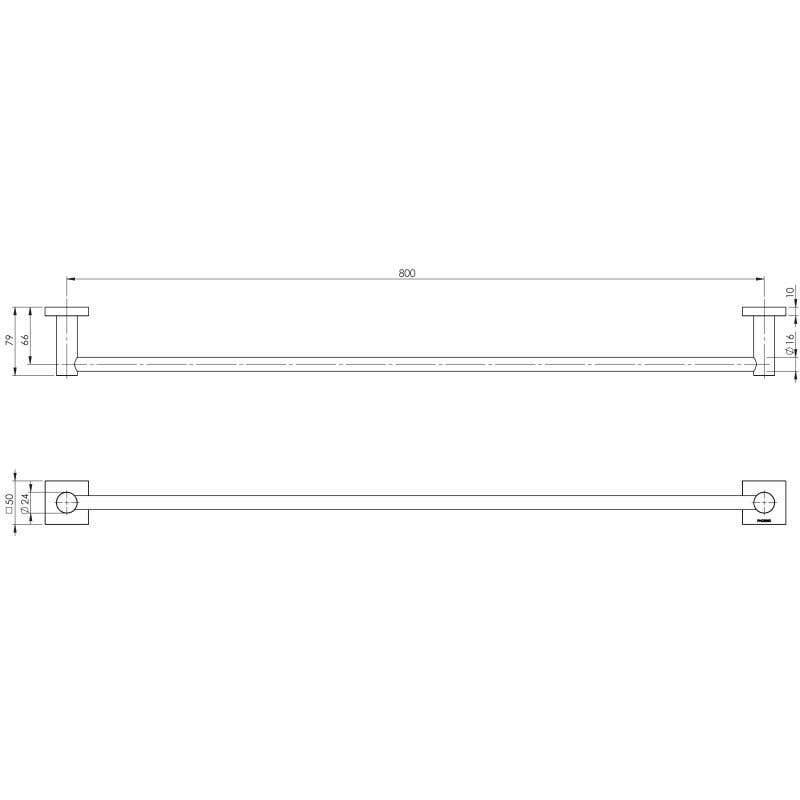 Phoenix Radii Square Single Towel Rail Chrome 800mm