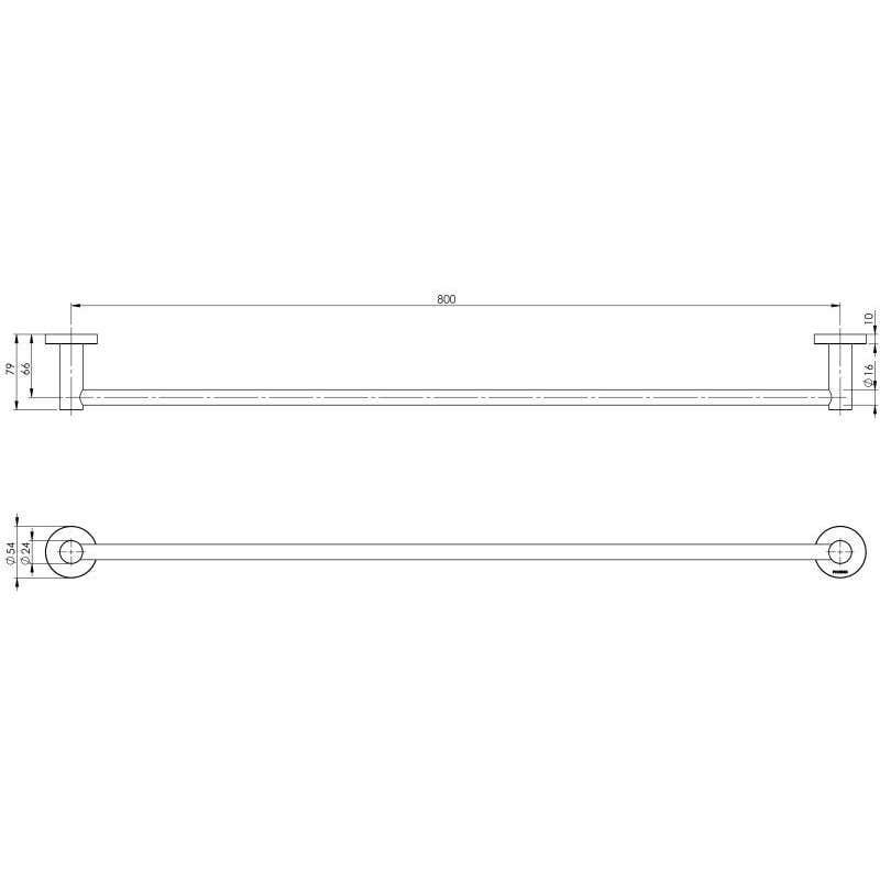 Phoenix Radii Round Single Towel Rail Chrome 800mm