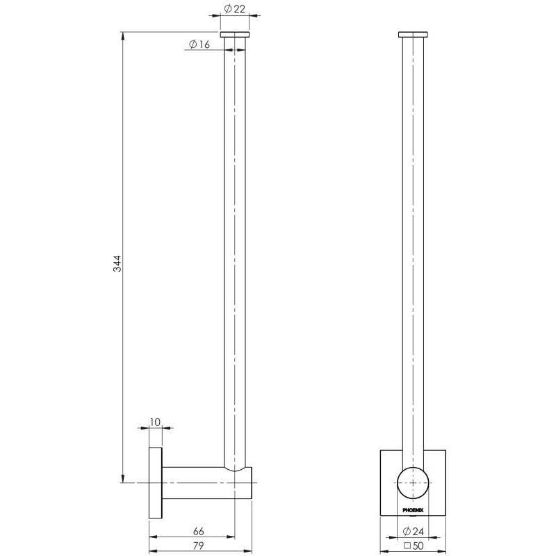 Phoenix Radii Square Spare Toilet Roll Holder Chrome