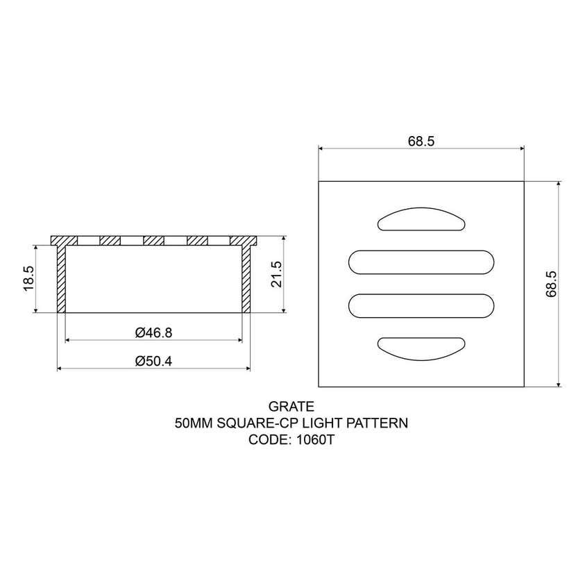 Mildon Grate Square 50mm Chrome Plate