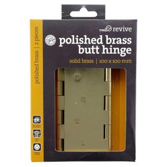 Trio Door Butt Hinge Polished Brass 100 x 100mm