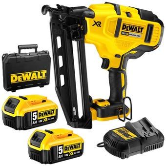 DeWALT 18V XR 5.0Ah Brushless Finishing Nailer Kit DCN660P2-XE
