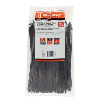 Crescent Cable Ties Black 300 x 4.8mm - 500 Pack