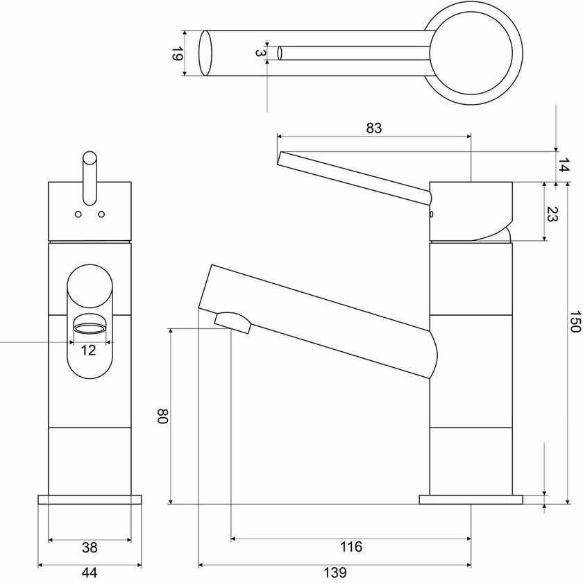 Mildon Bolera Basin Mixer Black 35mm