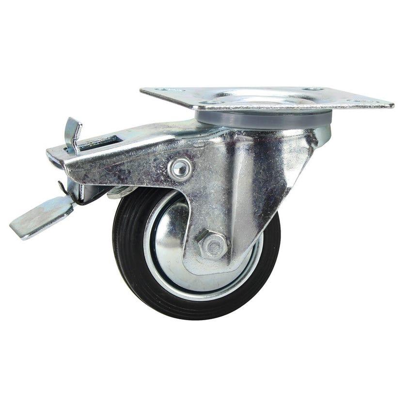 Cold Steel Rubber Swivel Castor with Brake Black 80mm