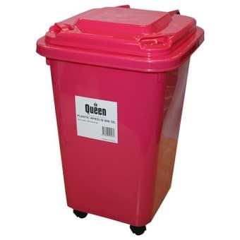 Queen Wheelie Bin Plastic Pink 32 Litre