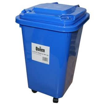 Queen Wheelie Bin Plastic Blue 32 Litre