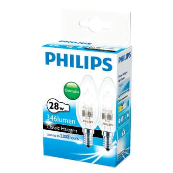 Philips Halogen Globe Candle 28W SES Clear - 2 Pack