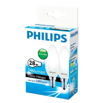 Philips Halogen Globe Candle 28W SES Frosted - 2 Pack