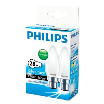 Philips Halogen Globe Candle 28W BC Frosted - 2 Pack