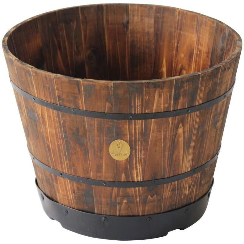 Wooden Barrel Planter Burnt Oak Finish 55cm