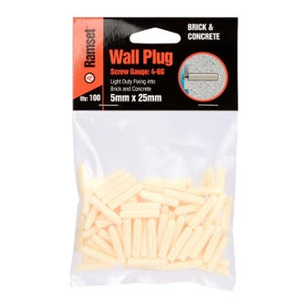 Ramset Wall White Plug 5mm x 25mm - 100 Pack