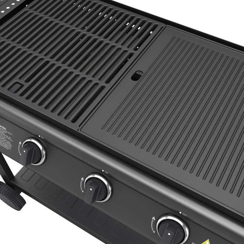 4 Burner Flat Top BBQ with Trolley and Lid