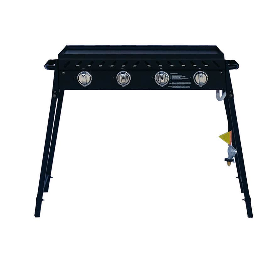 Grilled 4 Burner Solid Plate BBQ with Folding Legs