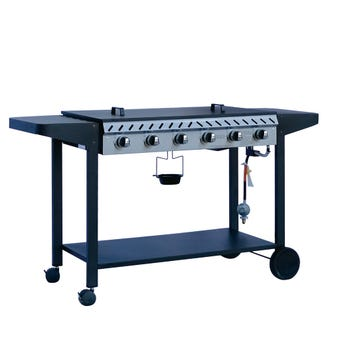 Grilled Deluxe 6 Burner Solid Plate BBQ