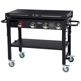 Grilled Dover 4 Burner Solid Plate BBQ with Trolley