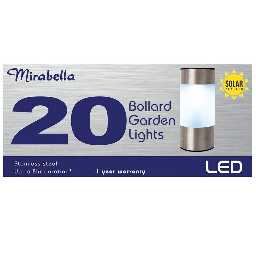 Mirabella LED Solar Stainless Steel Bollard Garden Lights - 20 Pack