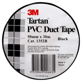 Tartan PVC Duct Tape Black 50mm x 30m