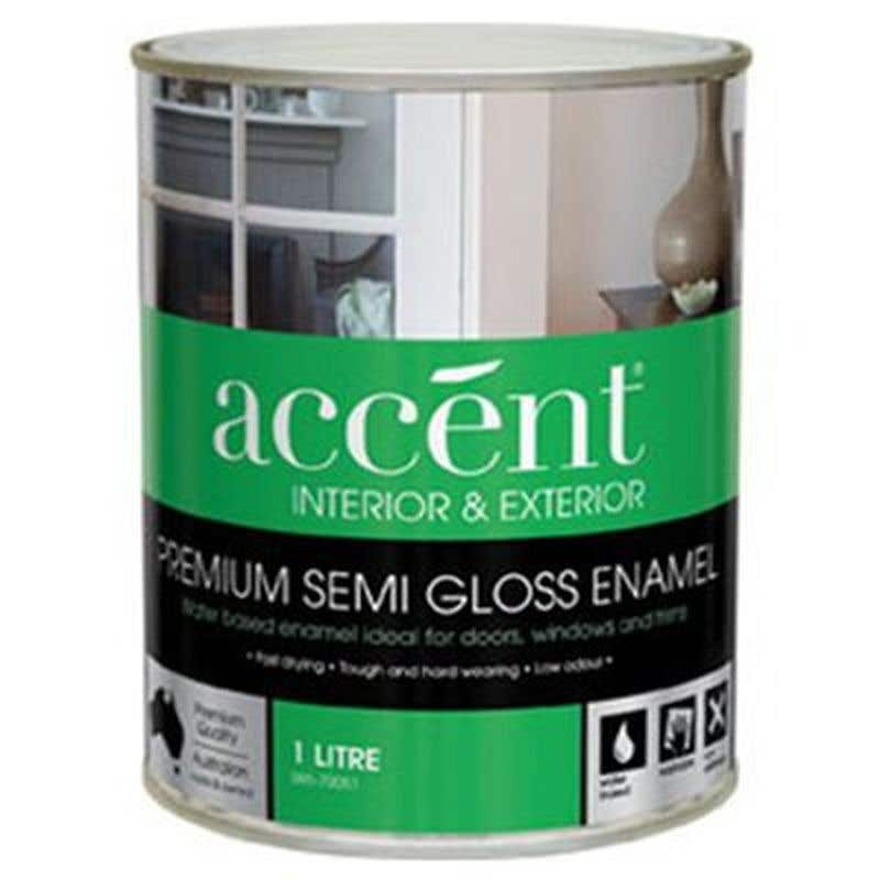 Accent Doors, Windows & Trims Water Based Semi Gloss White 1L