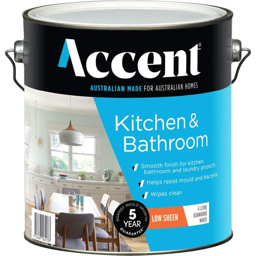 Accent Kitchen & Bathroom Low Sheen White 4L
