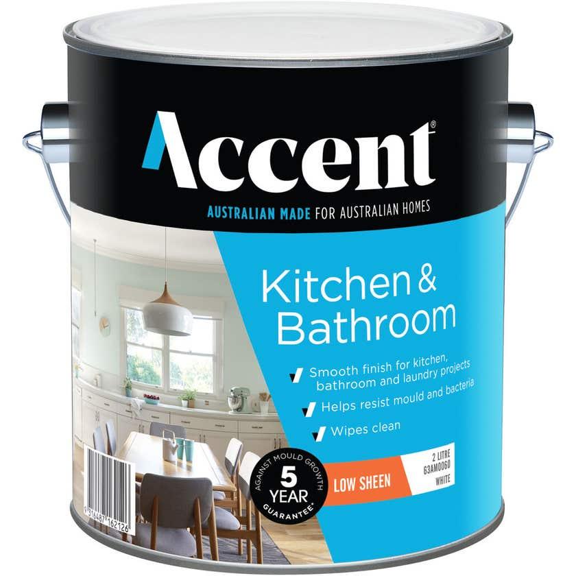 Accent Kitchen & Bathroom Low Sheen White 2L