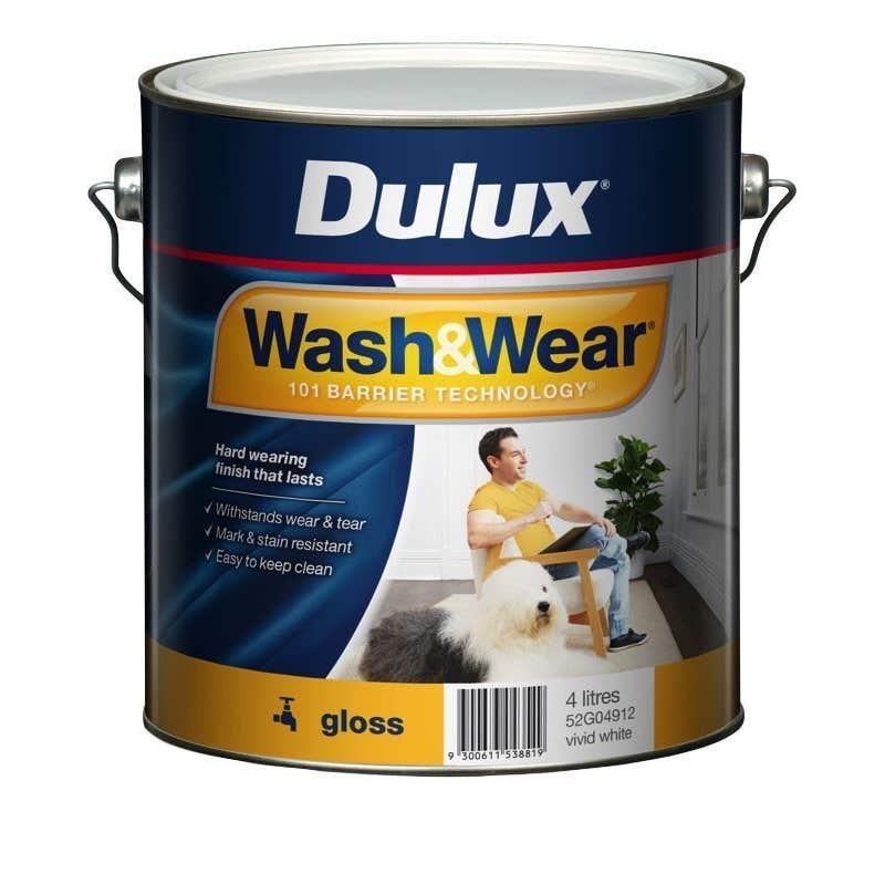 Dulux Wash & Wear Interior Gloss Vivid White 4L