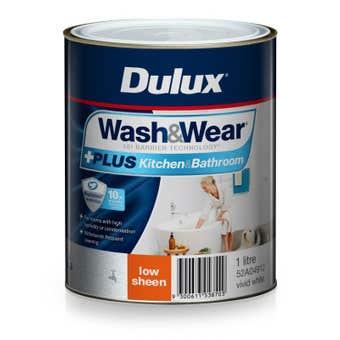 Dulux Wash & Wear +Plus Kitchen & Bathroom Low Sheen Vivid White 1L