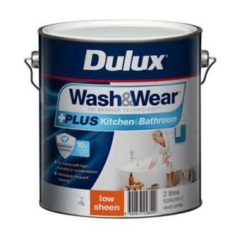 Dulux Wash & Wear +Plus Kitchen & Bathroom Low Sheen Vivid White 2L