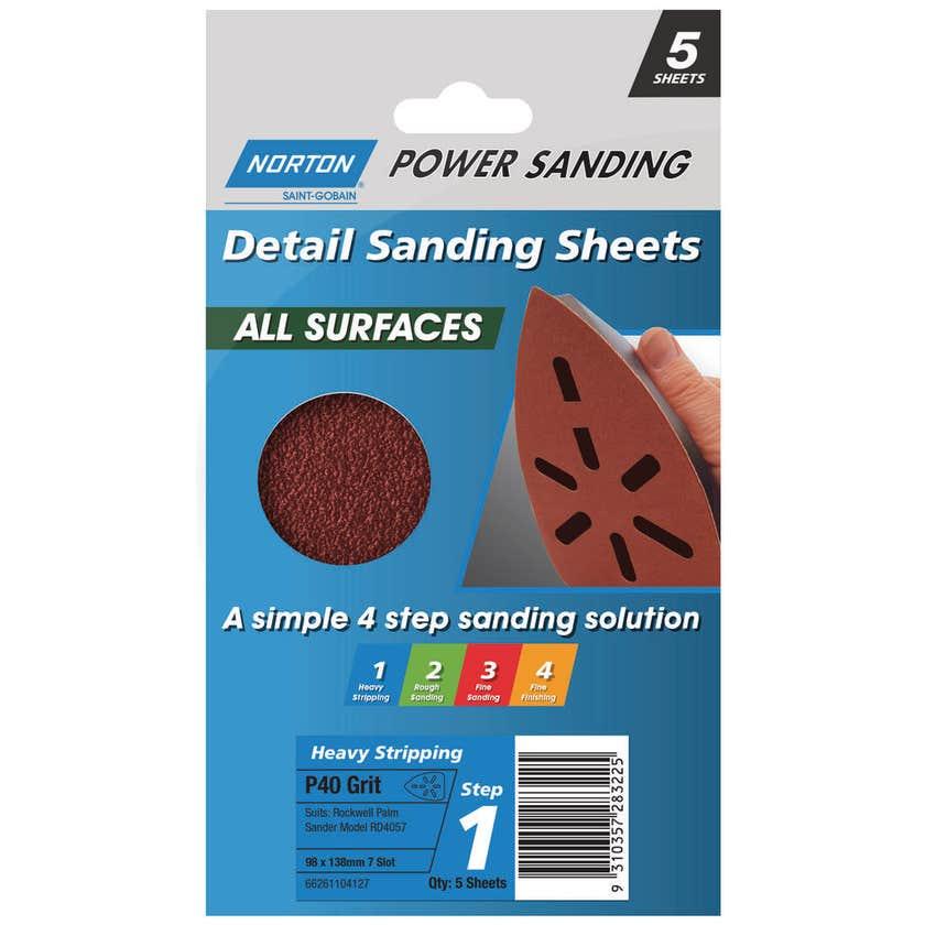 Norton Sanding Sheet 98 x 138mm P40 Grit - 5 Pk