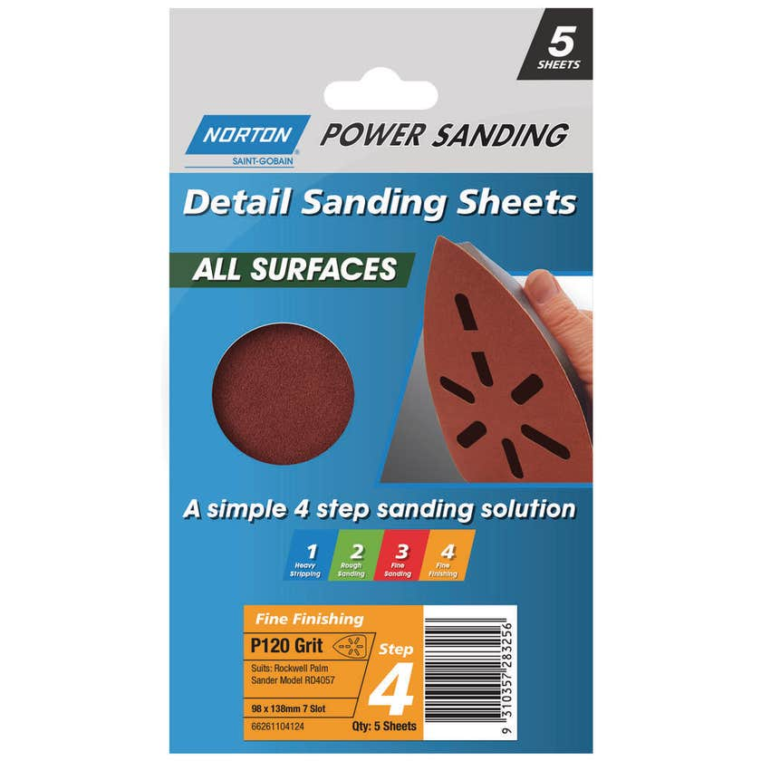 Norton Sanding Sheet 98 x 138mm P120 Grit - 5 Pk