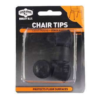 Cold Steel Chair Tips Round Black Rubber 13mm - 4 Pack