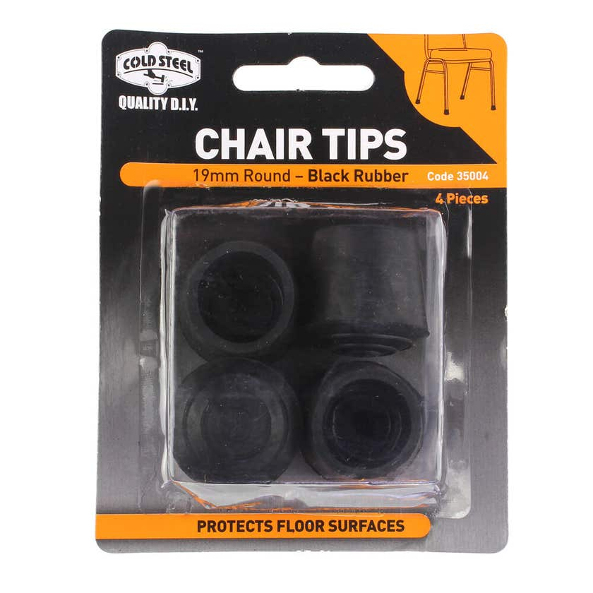 Cold Steel Chair Tips Round Black Rubber 19mm - 4 Pack