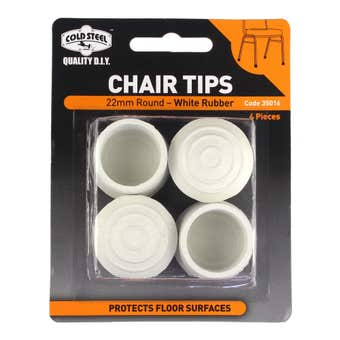 Cold Steel Chair Tips Round White Rubber 22mm - 4 Pack