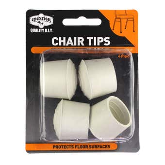 Cold Steel Chair Tips Round White Rubber 25mm - 4 Pack