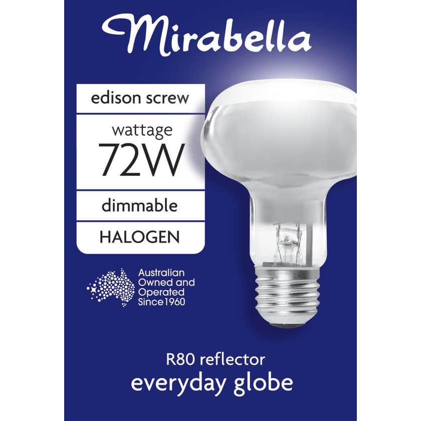Mirabella Halogen Reflector Globe R80 72W ES Clear