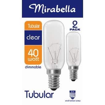 Mirabella Tubular Globe 40W SES Clear - 2 Pack