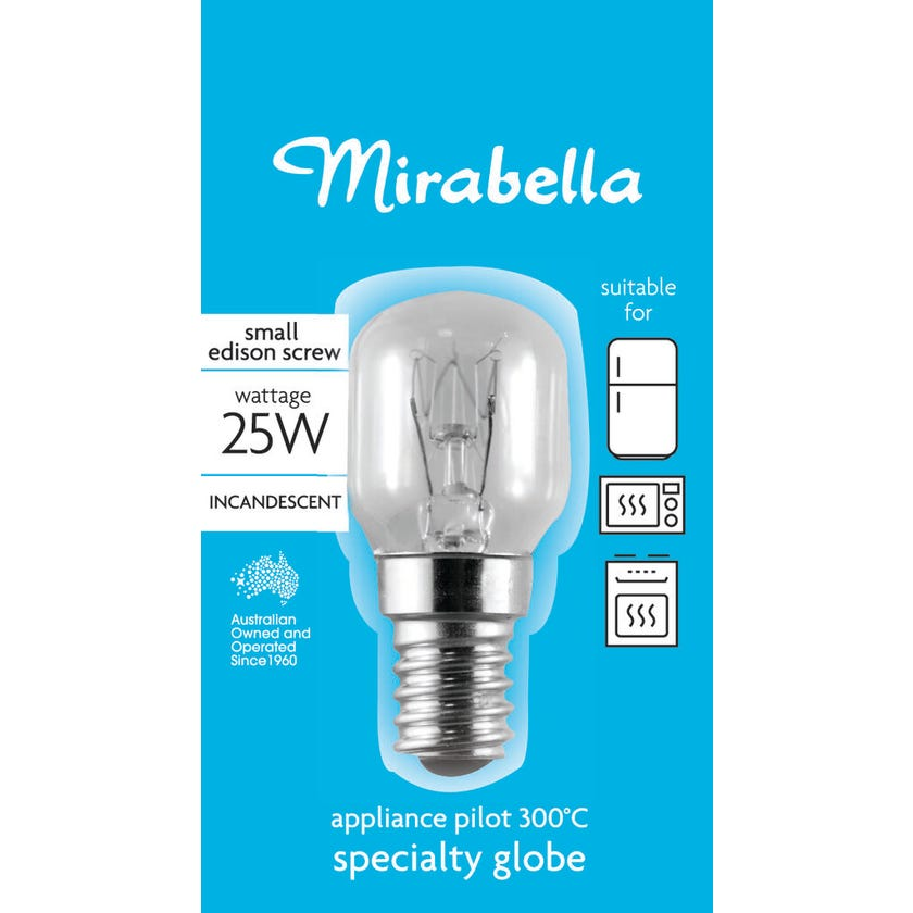 Mirabella Appliance Pilot Globe Clear 25W SES